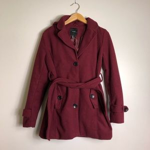 Forever 21 Burgundy Winter Coat w/ Hood